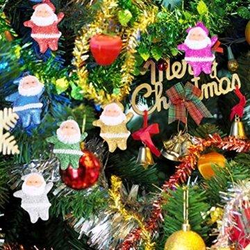 Amosfun 48 stücke Glitter Mini Santa Ornamente Weihnachten hängen anhänger Charme für Tasche schlüssel Telefon weihnachtsbeutelfüller Partei liefert - 5