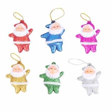 Amosfun 48 stücke Glitter Mini Santa Ornamente Weihnachten hängen anhänger Charme für Tasche schlüssel Telefon weihnachtsbeutelfüller Partei liefert - 6