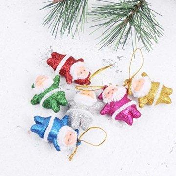 Amosfun 48 stücke Glitter Mini Santa Ornamente Weihnachten hängen anhänger Charme für Tasche schlüssel Telefon weihnachtsbeutelfüller Partei liefert - 7