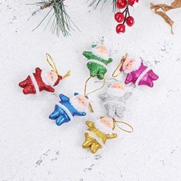 Amosfun 48 stücke Glitter Mini Santa Ornamente Weihnachten hängen anhänger Charme für Tasche schlüssel Telefon weihnachtsbeutelfüller Partei liefert - 8