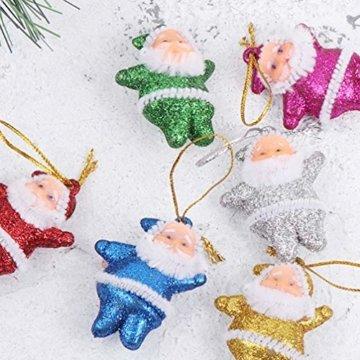 Amosfun 48 stücke Glitter Mini Santa Ornamente Weihnachten hängen anhänger Charme für Tasche schlüssel Telefon weihnachtsbeutelfüller Partei liefert - 9
