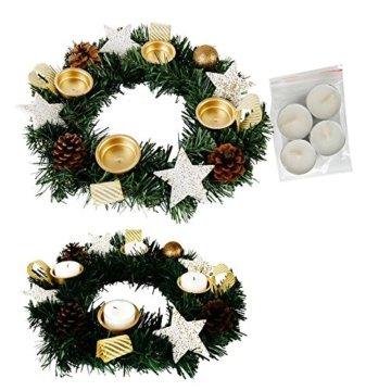 Annastore Adventskranz für Teelichter, fertig dekoriert Ø 30 cm inkl. 4 Teelichtern (Gold) - 1