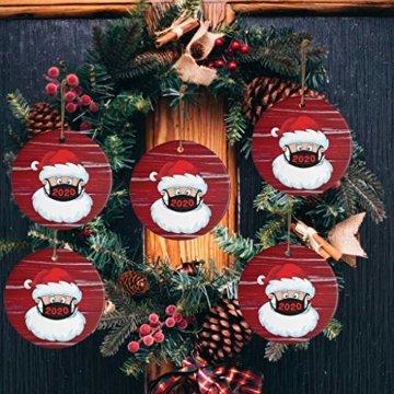 Ansenesna Weihnachten Anhänger Holz Figuren Klein Elch Schneemann Weihnachtsmann Weihnachtsbaumschmuck Holzanhänger Holzfiguren Deko Christmas Schmuck (T1) - 3