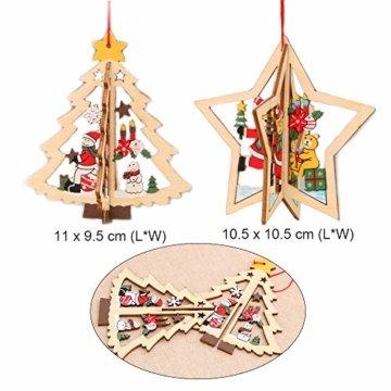 Anyasen Weihnachtsbaum Anhänger Holz 9 Stück Holzanhänger Weihnachten Weihnachtsbaumschmuck Weihnachtsbaum Deko Holz Christbaumschmuck Holz Weihnachtsdeko Anhänger für Weihnachtsbaum Weihnachtsmann - 2