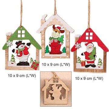 Anyasen Weihnachtsbaum Anhänger Holz 9 Stück Holzanhänger Weihnachten Weihnachtsbaumschmuck Weihnachtsbaum Deko Holz Christbaumschmuck Holz Weihnachtsdeko Anhänger für Weihnachtsbaum Weihnachtsmann - 3
