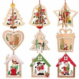 Anyasen Weihnachtsbaum Anhänger Holz 9 Stück Holzanhänger Weihnachten Weihnachtsbaumschmuck Weihnachtsbaum Deko Holz Christbaumschmuck Holz Weihnachtsdeko Anhänger für Weihnachtsbaum Weihnachtsmann - 1