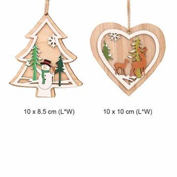 Anyasen Weihnachtsbaum Anhänger Holz 9 Stück Holzanhänger Weihnachten Weihnachtsbaumschmuck Weihnachtsbaum Deko Holz Christbaumschmuck Holz Weihnachtsdeko Anhänger für Weihnachtsbaum Weihnachtsmann - 4