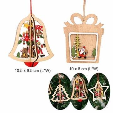Anyasen Weihnachtsbaum Anhänger Holz 9 Stück Holzanhänger Weihnachten Weihnachtsbaumschmuck Weihnachtsbaum Deko Holz Christbaumschmuck Holz Weihnachtsdeko Anhänger für Weihnachtsbaum Weihnachtsmann - 5