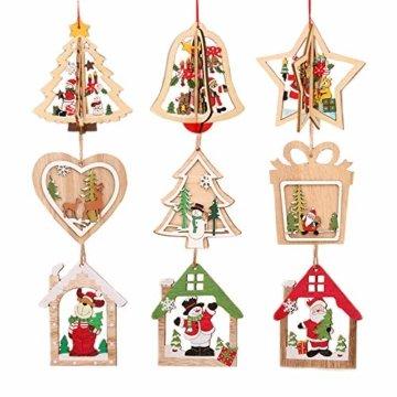 Anyasen Weihnachtsbaum Anhänger Holz 9 Stück Holzanhänger Weihnachten Weihnachtsbaumschmuck Weihnachtsbaum Deko Holz Christbaumschmuck Holz Weihnachtsdeko Anhänger für Weihnachtsbaum Weihnachtsmann - 6