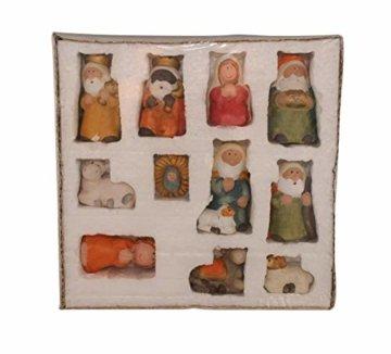 ARTECSIS 11-teiliges Set Krippenfiguren 7,5 cm Weihnachtskrippe Weihnachtsfiguren aus Keramik - 4