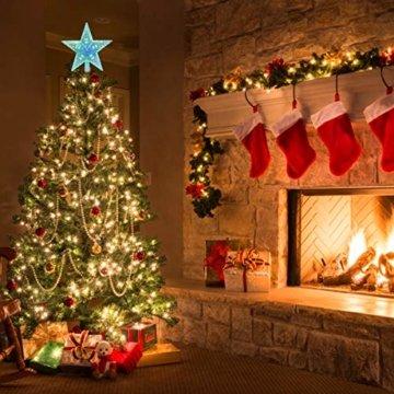 AsperX Weihnachtsbaum Stern Mehrfarbiger Christbaumspitze Weihnachtsstern Baum Stern Weihnachtsbaumspitze Leichter batteriebetriebener Tree Topper für Weihnachten(22cm) - 3