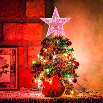 AsperX Weihnachtsbaum Stern Mehrfarbiger Christbaumspitze Weihnachtsstern Baum Stern Weihnachtsbaumspitze Leichter batteriebetriebener Tree Topper für Weihnachten(22cm) - 4