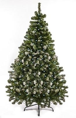 awshop24 Künstlicher Weihnachtsbaum Tannenbaum Christbaum Tanne mit und ohne LED, in verschiedenen Größen und Ausführungen (150 cm, Grün mit Schnee-Effekt LED) - 1