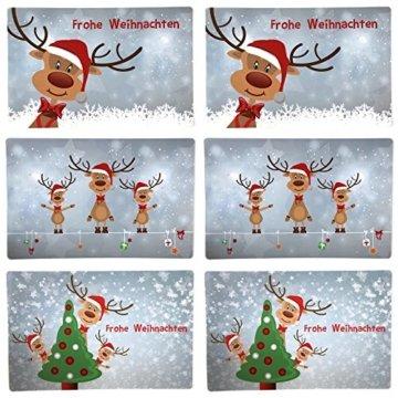Bada Bing 6er Set Tischset Weihnachten Rentier Rudolph Kinder - 2