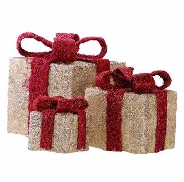 Bambelaa! 3er Led Deko Geschenke Leucht Boxen Timer Weihnachts Dekoration Weihnachtsdeko Beleuchtet Deko Weihnachten (Gelb) - 4