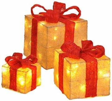 Bambelaa! 3er Led Deko Geschenke Leucht Boxen Timer Weihnachts Dekoration Weihnachtsdeko Beleuchtet Deko Weihnachten (Gelb) - 1
