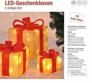 Bambelaa! 3er Led Deko Geschenke Leucht Boxen Timer Weihnachts Dekoration Weihnachtsdeko Beleuchtet Deko Weihnachten (Gelb) - 6
