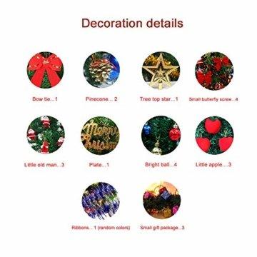 Bcamelys Geschmückter Weihnachtsbäume, 45 cm Mini Künstlicher Weihnachtsbaum, Deko Tannenbaum Mit Dekorationspaket, Weihnachtsdekoration für Zuhause und Büro - 7