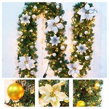 Bcamelys Weihnachtsgirlande mit Beleuchtung Weihnachtsdekoration 270cm Weihnachtsgirlande beleuchtet LED-Schnur beleuchtet Weihnachtstürdekor Weihnachtsgirlande Tannengirlande Lichterkette (Silber) - 2