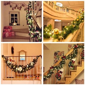 Bcamelys Weihnachtsgirlande mit Beleuchtung Weihnachtsdekoration 270cm Weihnachtsgirlande beleuchtet LED-Schnur beleuchtet Weihnachtstürdekor Weihnachtsgirlande Tannengirlande Lichterkette (Silber) - 3