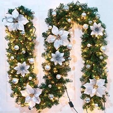 Bcamelys Weihnachtsgirlande mit Beleuchtung Weihnachtsdekoration 270cm Weihnachtsgirlande beleuchtet LED-Schnur beleuchtet Weihnachtstürdekor Weihnachtsgirlande Tannengirlande Lichterkette (Silber) - 1