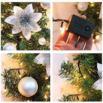 Bcamelys Weihnachtsgirlande mit Beleuchtung Weihnachtsdekoration 270cm Weihnachtsgirlande beleuchtet LED-Schnur beleuchtet Weihnachtstürdekor Weihnachtsgirlande Tannengirlande Lichterkette (Silber) - 6