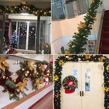 Bcamelys Weihnachtsgirlande mit Beleuchtung Weihnachtsdekoration 270cm Weihnachtsgirlande beleuchtet LED-Schnur beleuchtet Weihnachtstürdekor Weihnachtsgirlande Tannengirlande Lichterkette (Silber) - 7