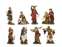Bertoni 8einfache Krippe Figuren in historischen Kostüme, Holz, Mehrfarbig, 10x 30x 30cm - 1