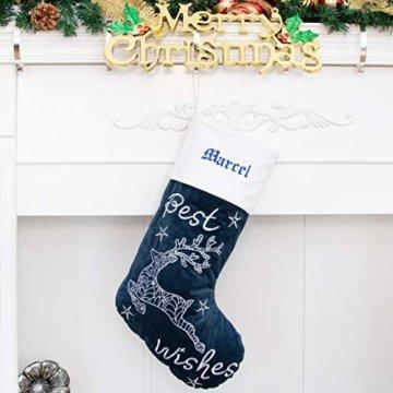 Beyond Your Thoughts Nikolausstrumpf mit Name Personalisiert Stickerei Weihnachtsstrumpf Deko Kamin Christmas Stocking Nikolausstiefel zum befüllen und aufhängen groß Ideale Weihnachtsdekoration- Blau - 3