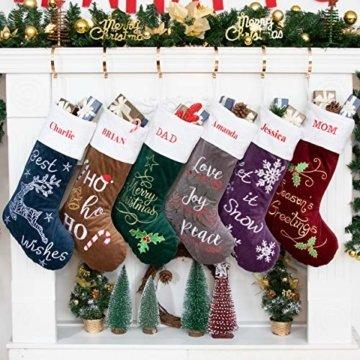 Beyond Your Thoughts Nikolausstrumpf mit Name Personalisiert Stickerei Weihnachtsstrumpf Deko Kamin Christmas Stocking Nikolausstiefel zum befüllen und aufhängen groß Ideale Weihnachtsdekoration- Blau - 1
