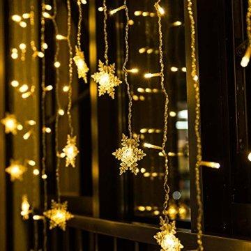 BLOOMWIN 2x1M Schneeflocken Lichtervorhang Warmweiß, USB Weihnachtesbeleuchtung 8Modi Lichterkettenvorhang 104LEDs Stimmungslichter für Balkon, Fenster, Hochzeit, Weihnachten IP44 Lichterkette - 5
