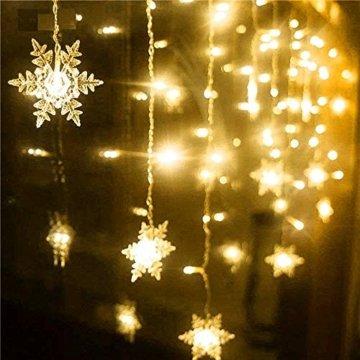 BLOOMWIN 2x1M Schneeflocken Lichtervorhang Warmweiß, USB Weihnachtesbeleuchtung 8Modi Lichterkettenvorhang 104LEDs Stimmungslichter für Balkon, Fenster, Hochzeit, Weihnachten IP44 Lichterkette - 6