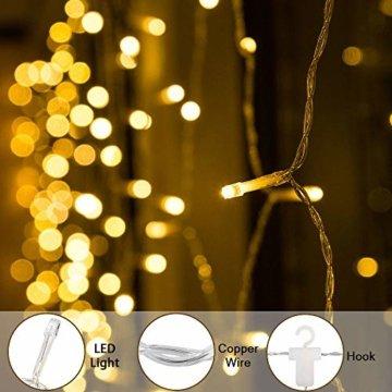 BLOOMWIN 2x1M Schneeflocken Lichtervorhang Warmweiß, USB Weihnachtesbeleuchtung 8Modi Lichterkettenvorhang 104LEDs Stimmungslichter für Balkon, Fenster, Hochzeit, Weihnachten IP44 Lichterkette - 7