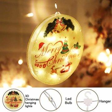 BLOOMWIN LED Lichterkettenvorhang, Acrylanhänger Hängelampe Lichtervorhang 113 LEDs 3D Vorhanglicht Fensterdekoration USB Stimmungsbeleuchtung Fenster Weihnachten Weihnachtsfeier Deko Innen Warmweiß - 2