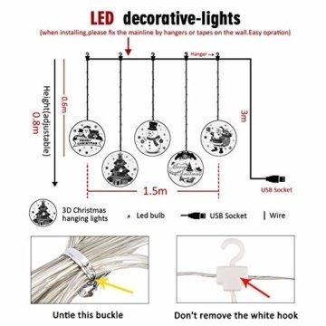 BLOOMWIN LED Lichterkettenvorhang, Acrylanhänger Hängelampe Lichtervorhang 113 LEDs 3D Vorhanglicht Fensterdekoration USB Stimmungsbeleuchtung Fenster Weihnachten Weihnachtsfeier Deko Innen Warmweiß - 4