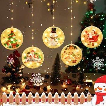 BLOOMWIN LED Lichterkettenvorhang, Acrylanhänger Hängelampe Lichtervorhang 113 LEDs 3D Vorhanglicht Fensterdekoration USB Stimmungsbeleuchtung Fenster Weihnachten Weihnachtsfeier Deko Innen Warmweiß - 1