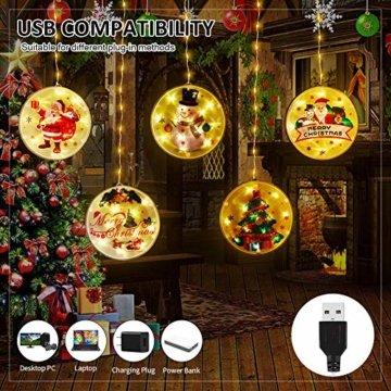 BLOOMWIN LED Lichterkettenvorhang, Acrylanhänger Hängelampe Lichtervorhang 113 LEDs 3D Vorhanglicht Fensterdekoration USB Stimmungsbeleuchtung Fenster Weihnachten Weihnachtsfeier Deko Innen Warmweiß - 5