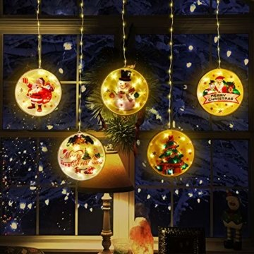 BLOOMWIN LED Lichterkettenvorhang, Acrylanhänger Hängelampe Lichtervorhang 113 LEDs 3D Vorhanglicht Fensterdekoration USB Stimmungsbeleuchtung Fenster Weihnachten Weihnachtsfeier Deko Innen Warmweiß - 6
