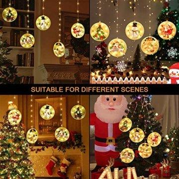 BLOOMWIN LED Lichterkettenvorhang, Acrylanhänger Hängelampe Lichtervorhang 113 LEDs 3D Vorhanglicht Fensterdekoration USB Stimmungsbeleuchtung Fenster Weihnachten Weihnachtsfeier Deko Innen Warmweiß - 7