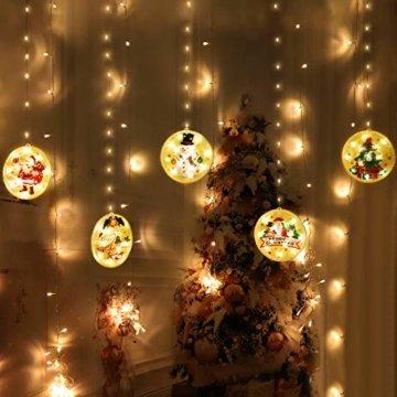 BLOOMWIN LED Lichterkettenvorhang, Acrylanhänger Hängelampe Lichtervorhang 113 LEDs 3D Vorhanglicht Fensterdekoration USB Stimmungsbeleuchtung Fenster Weihnachten Weihnachtsfeier Deko Innen Warmweiß - 8