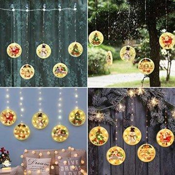 BLOOMWIN LED Lichterkettenvorhang, Acrylanhänger Hängelampe Lichtervorhang 113 LEDs 3D Vorhanglicht Fensterdekoration USB Stimmungsbeleuchtung Fenster Weihnachten Weihnachtsfeier Deko Innen Warmweiß - 9