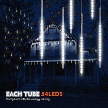 BlueFire Aufgerüstet Meteorschauer Regen Lichter, 50cm 10 Spirale Tubes 540 LEDs wasserdichte Schneefall Lichterkette für Draussen/Innenraum/Garten/Hochzeit/Party/Weihnachten Dekoration (Weiß) - 7
