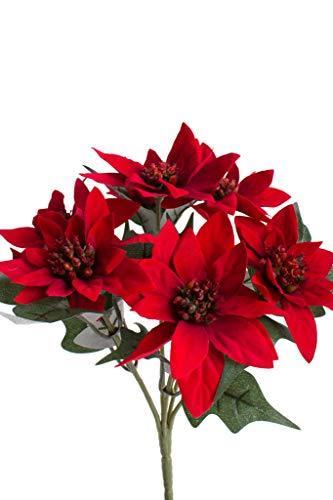Botanic-Haus künstlicher Edel-Mini-Poinsettienbusch (Weihnachtsstern) mit 7 Blüten, samtig Farbe: rot - 2