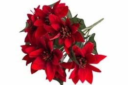 Botanic-Haus künstlicher Edel-Mini-Poinsettienbusch (Weihnachtsstern) mit 7 Blüten, samtig Farbe: rot - 1