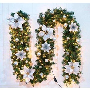 Briskorry Weihnachtsgirlande mit LED Batterie Betrieben, Weihnachtskranz Tannengirlande Lichterkette 5m Weihnachtstürdekor - 3