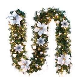Briskorry Weihnachtsgirlande mit LED Batterie Betrieben, Weihnachtskranz Tannengirlande Lichterkette 5m Weihnachtstürdekor - 1
