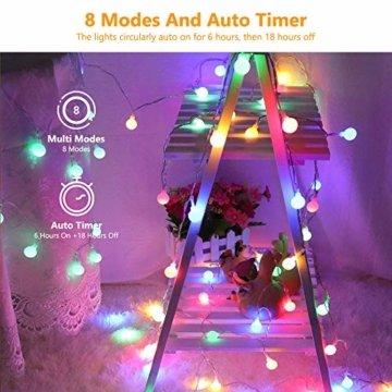 BrizLabs 50er LED Kugel Lichterkette Bunt 5M Batterie Partybeleuchtung Globe Außen, 8 Modi und Timer Funktion, Innen Weihnachtsbeleuchtung Stimmungslichter für Zimmer Hochzeit Party Deko, Mehrfarbig - 2
