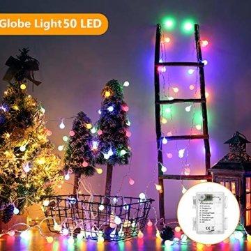 BrizLabs 50er LED Kugel Lichterkette Bunt 5M Batterie Partybeleuchtung Globe Außen, 8 Modi und Timer Funktion, Innen Weihnachtsbeleuchtung Stimmungslichter für Zimmer Hochzeit Party Deko, Mehrfarbig - 3