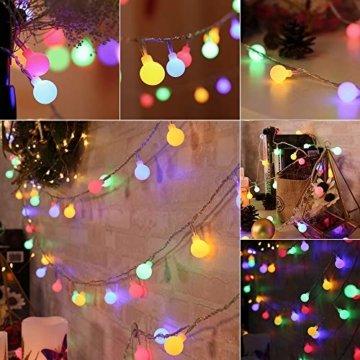 BrizLabs 50er LED Kugel Lichterkette Bunt 5M Batterie Partybeleuchtung Globe Außen, 8 Modi und Timer Funktion, Innen Weihnachtsbeleuchtung Stimmungslichter für Zimmer Hochzeit Party Deko, Mehrfarbig - 4