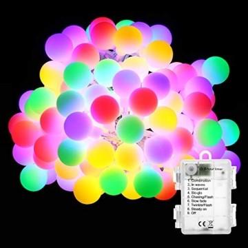 BrizLabs 50er LED Kugel Lichterkette Bunt 5M Batterie Partybeleuchtung Globe Außen, 8 Modi und Timer Funktion, Innen Weihnachtsbeleuchtung Stimmungslichter für Zimmer Hochzeit Party Deko, Mehrfarbig - 1